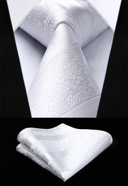 Woven Men White Tie Paisley Necktie Handkerchief Set#TP804W8S Party Wedding Classic Fashion Pocket Square Tie