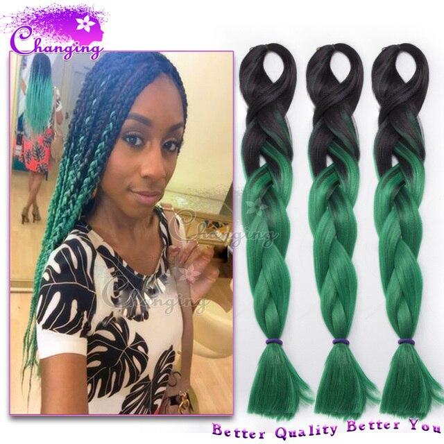 Cheap Green Braiding Hair 100g Box Braid Hair Extensions Ombre