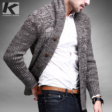 Free shipping men's thick turn-down collar fashion long-sleeve sweater cardigan 15816