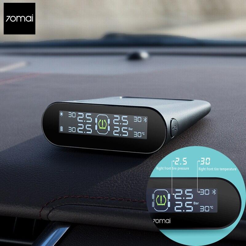 Xiao mi 70mai TPMS Tire Pressure Tester Monitor Solar Power Dual USB Charging Built in Sensors System Alarm English APP Monitor