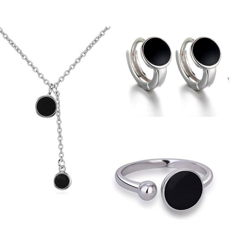 XIYANIKE-collar redondo negro + pendientes + anillo de Plata de Ley 925, juegos de joyas para mujer, regalo coreano, novedad de 2019