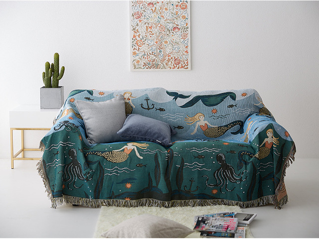 Drop Ship Knitted Mermaid Sofa Throw Blanket With Tel Chair Cover Towel Cartoon Couch Carpet