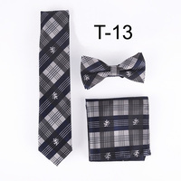100%Silk 2017 Hot Designer Ties Skinny Gray Plaid Necktie Set High Quality Classic Handkerchief with lovely Bow Tie For Adult