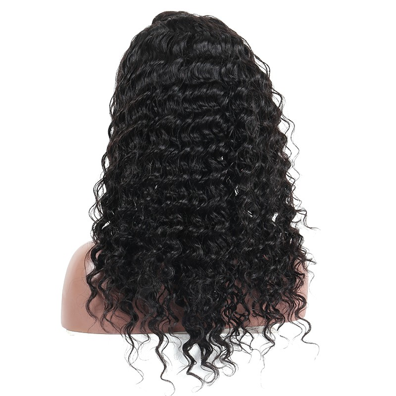 Deep Wave Full Lace Wig 180% Density Human Hair Wigs Pre Plucked With Baby Hair Brazilian Remy Hair Wig Sunny Queen