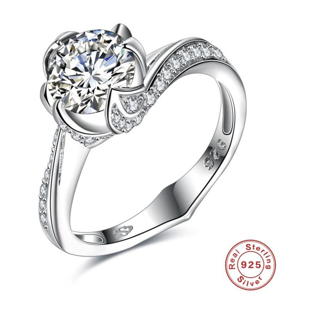 Anel Feminino Limited Women 2018 Bfq Fashion Bezel Setting Hot Sale S925 Sterling Engagement Ring Women's Weddings Fine Jewelry