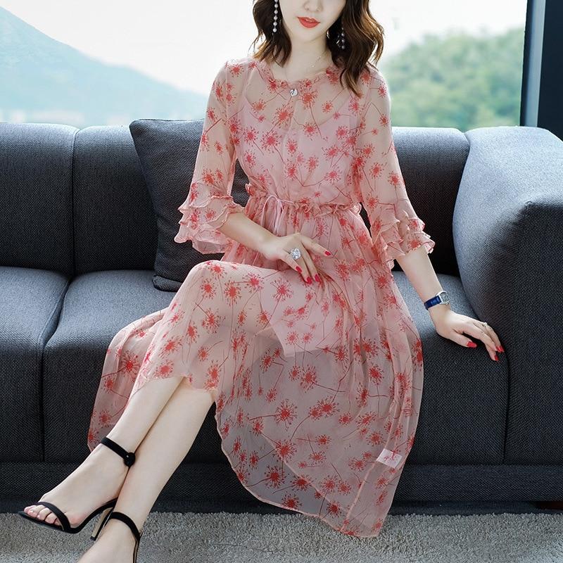 Décontracté En 2019 Plus Rose Robes Mousseline Printemps Boho Robe Sexy Long Bohème Soie Floral Été Fit Slim Pièce Taille Plage Grande Femmes De 2 85qxC