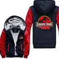 2016  movie Jurassic Park World man Hoodies  Winter Thicken Cotton Fleece Zipper Style Tops  For Men USA EU size Plus size