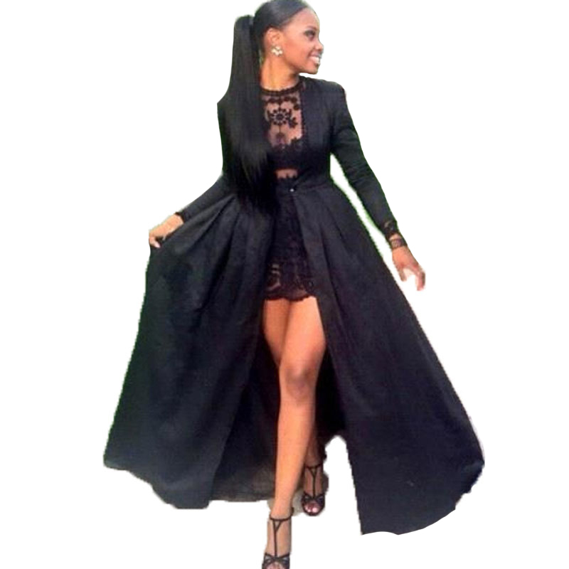 Sexy Two Piece See Through Black Lace Short Prom Dresses Long Sleeve Detachable Coat Floor Length Evening Pageant dresses