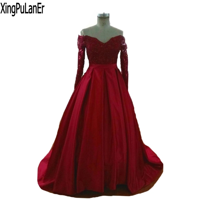 559eb5646 robe de soiree Long Prom Dress V Neck Long Sleeves Red Lace Top Satin Skirt  Long Ball Gown Women Elegant Evening Dresses