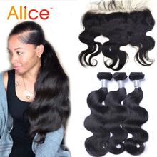 Alice 3pcs Human Hair Weft With Closure 13X4 Ear To Ear Lace Frontal Closure With Bundles Brazilian Body Wave Lace Frontal Weave