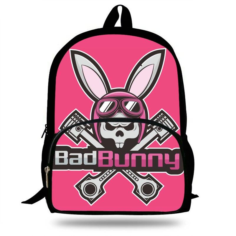 Ernst Cartoon Schlechte Bunny Kinder Schule Taschen Für Teenager Junge/mädchen Studenten Täglichen Tasche Tiere Kaninchen Druck Rucksack Mochila Gepäck & Taschen