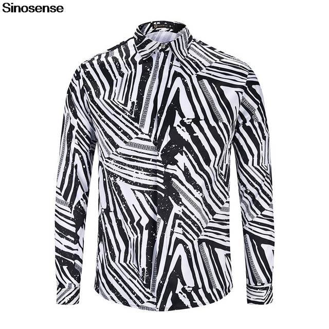 2e3bd236b966f 3D Black White Zebra Print Men Shirt 2019 Long Sleeve Casual Shirt Luxury  Brand Cotton Clothing