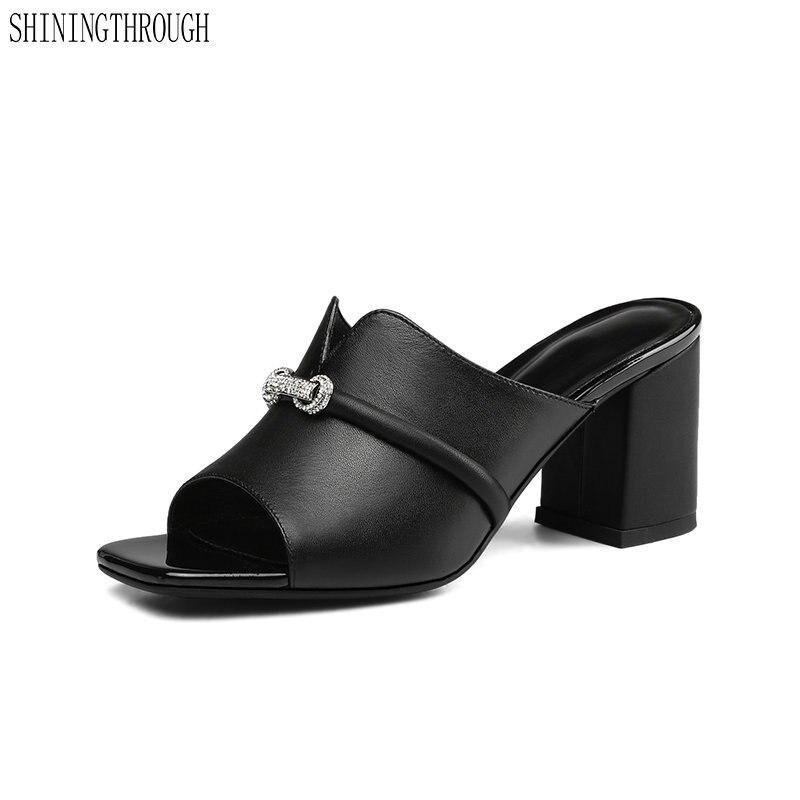 2019 Del Progettista Di Marca Delle Donne Del Cuoio Genuino Scarpe Donna Di Strass Pantofole Dei Sandali Casual Di Alta Vibrazione Tacco Flop Sandali