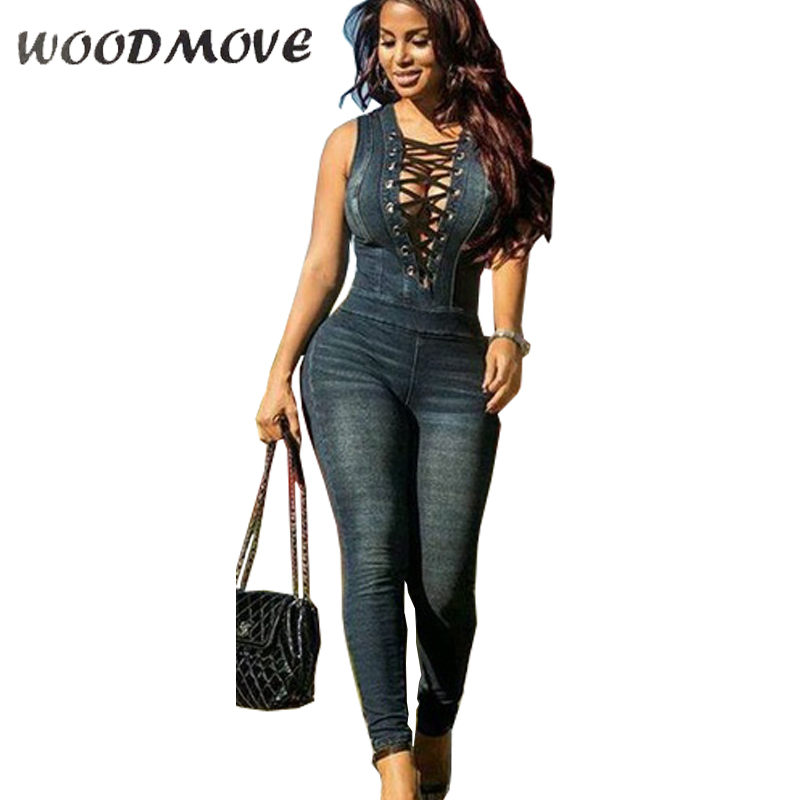 91a5336ec780 New Denim Rompers Overalls Women Skinny Jeans Sexy Blue Lace-up V Neck  Sleeveless Denim. US  26.93. 2017 Women s Fashion Gold Shiny Jacket  Metallic Hooded ...
