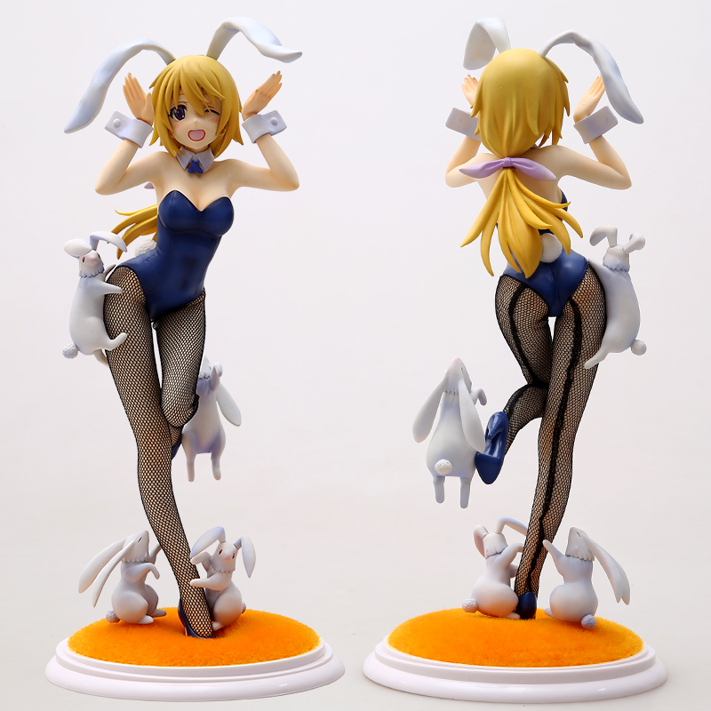 Japanese anime 23cm Sexy Girl Charlotte Dunois Anime Figure 4-Leaves Infinite Stratos Bunny Style 1/7 Scale Model Adult Toys tolove darkness adult pretty girl model anime girl model beauty model tableware animation hand model toys