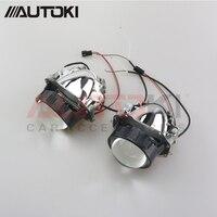 Autoki Car Styling Universal Bi LED Projector Headlights Lens With Chip 3.0 inch High and Low Beam Auto Headlamp Light Retrofit