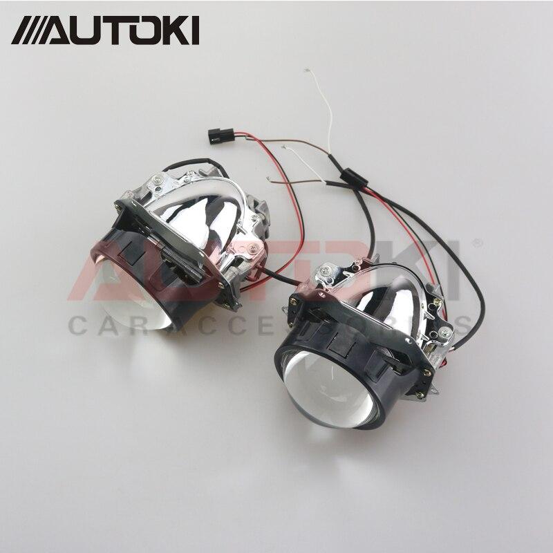 Autoki voiture style universel Bi projecteur LED phares lentille avec puce 3.0 pouces faisceau haut et bas Auto phare lumière modification