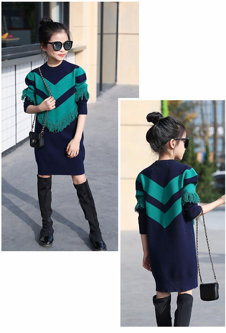 2017 new knitting tassels girls sweater spring autumn winter casual children school clothing preppy style knitted kids sweaters girls dresses 6 7 8 9 10 11 12 13 14 15 16 years old little teenage big girls long sweater dress (17)
