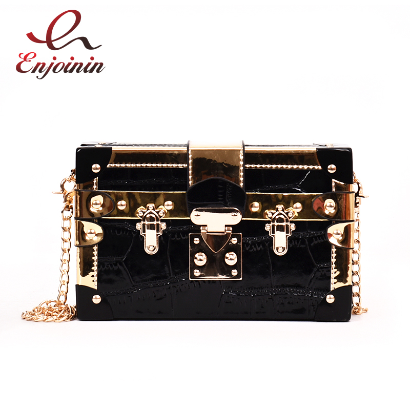 Splice Color Metal Buckle Box Style Fashion Ladies Clutch Bag Chain Purse Shoulder Bag For Women Handbag Mini Messenger Bag Flap