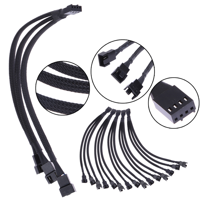 1 To 3 Ways 4-pins CPU PWM Case Cooling Fan Splitter Hub Power Fan-out Adapter Cable Sleeved 1 To 3 4-Pin Extension Cable
