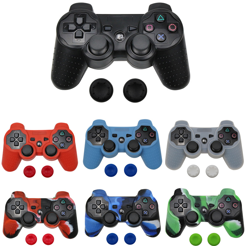 Silicone Protective Skin Cover For Sony PS3/PS2 Gamepad Rubber Protective Case For Playstation 3 with 2 thumb sticks Grips CapSilicone Protective Skin Cover For Sony PS3/PS2 Gamepad Rubber Protective Case For Playstation 3 with 2 thumb sticks Grips Cap