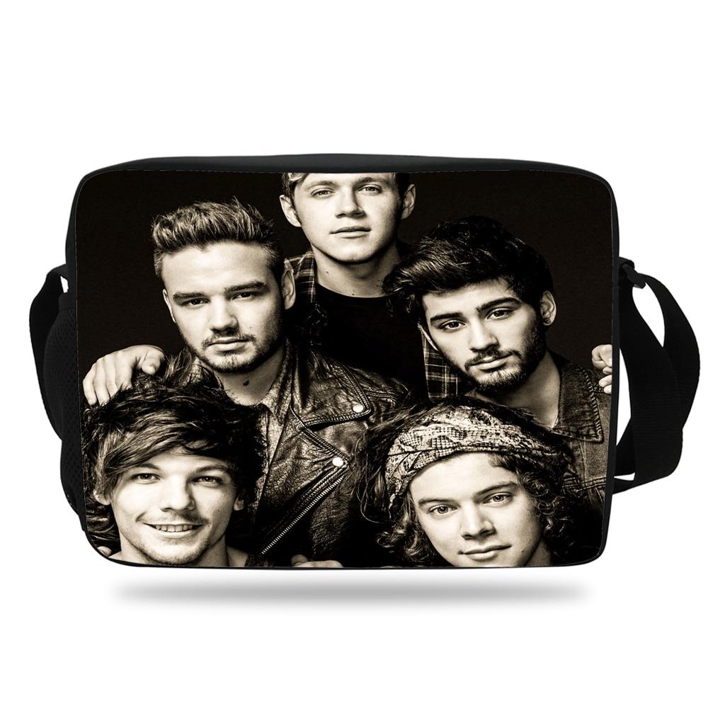 Fashion Kids Print Messenger Bag For Girls School One Direction Pattern Shoulder