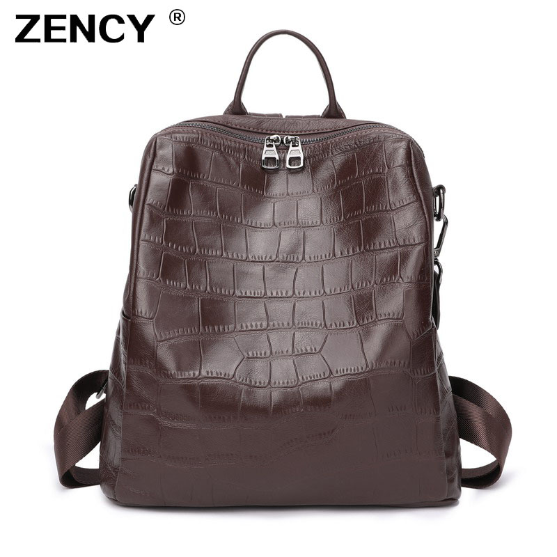 ZENCY Large 100 Soft Natural Italian Genuine Leather Full Grain Leather Women Backpack Ladies Coffee Cowhide
