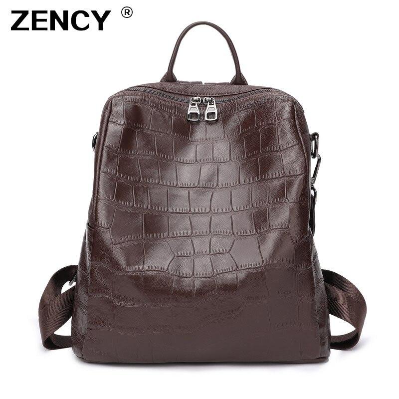 ZENCY Large 100 Soft Natural Italian Genuine Leather Full Grain Leather Women Backpack Ladies Coffee Cowhide