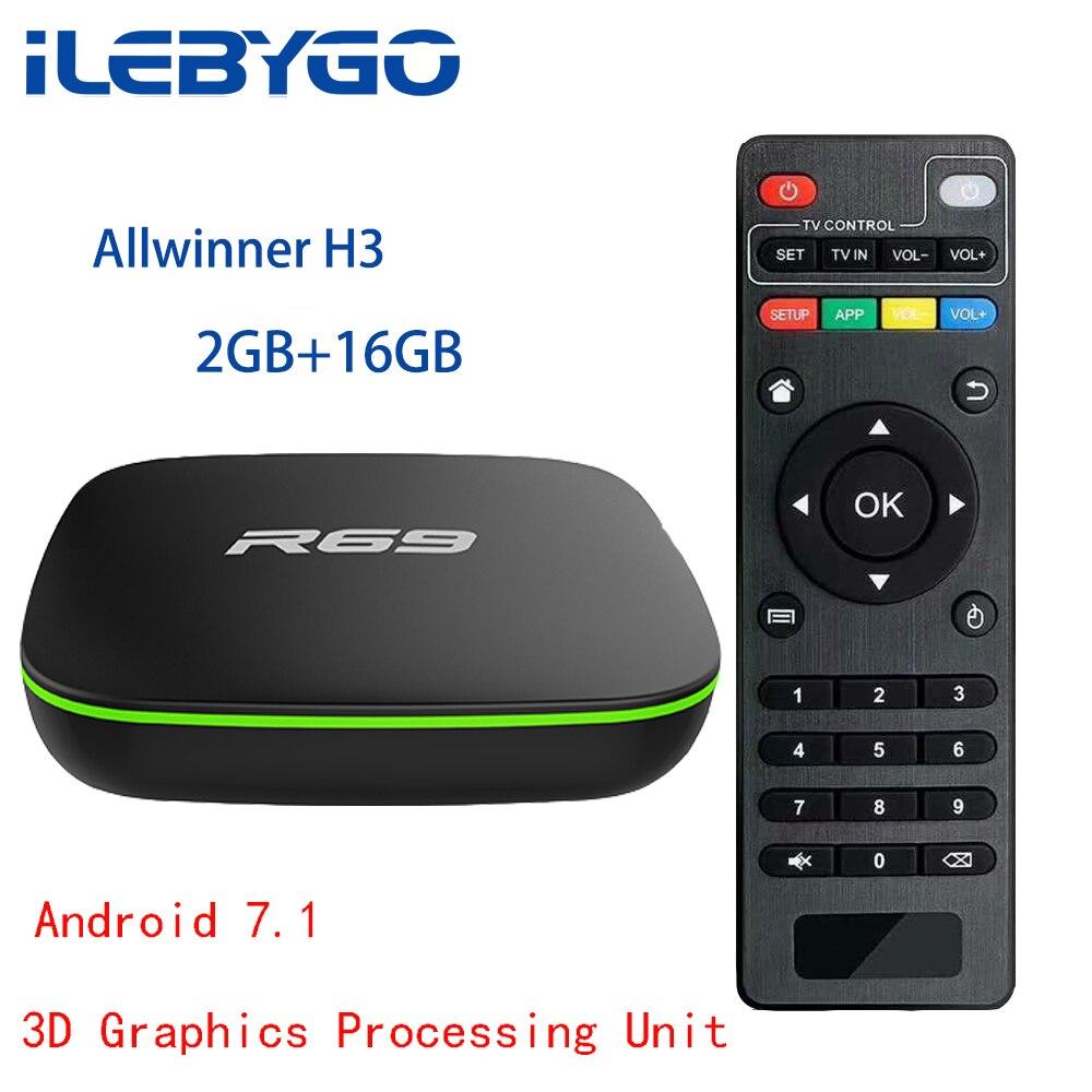 Ilebygo R69 Smart Android 7.1 TV Box 1GB 8GB Allwinner H3 Quad-Core 2.4G Wifi Set Top Box 2G 16G HD Media Player Ott Android BoxIlebygo R69 Smart Android 7.1 TV Box 1GB 8GB Allwinner H3 Quad-Core 2.4G Wifi Set Top Box 2G 16G HD Media Player Ott Android Box
