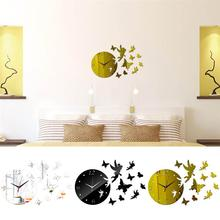 New Acrylic Wall Clock Sticker Fashion Butterfly Pattern Creative Clock Sticker Mirror Surface Sticker For Home