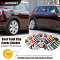 For Mini Cooper One S F54 Clubman Fuel Tank Cap Cover PVC 3D Sticker UK Flag Checker Rainbow etc