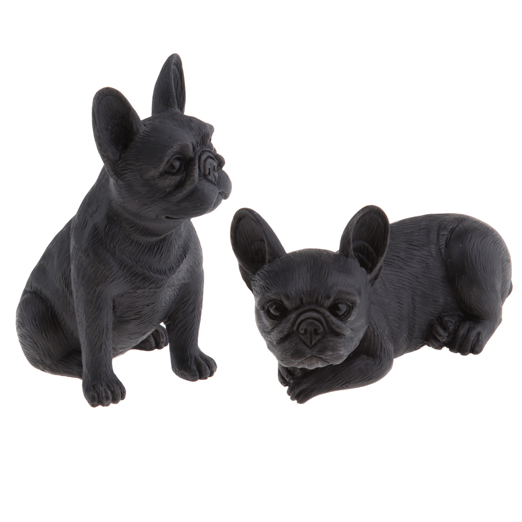 2Pieces Handmade Resin Craft French Bulldog Figurine Animal Statue Ornament Holiday Party Display Gifts