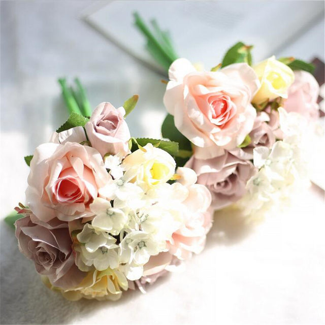 Online shop 5 headspcs champagne pink silk roses fake flowers sale mightylinksfo