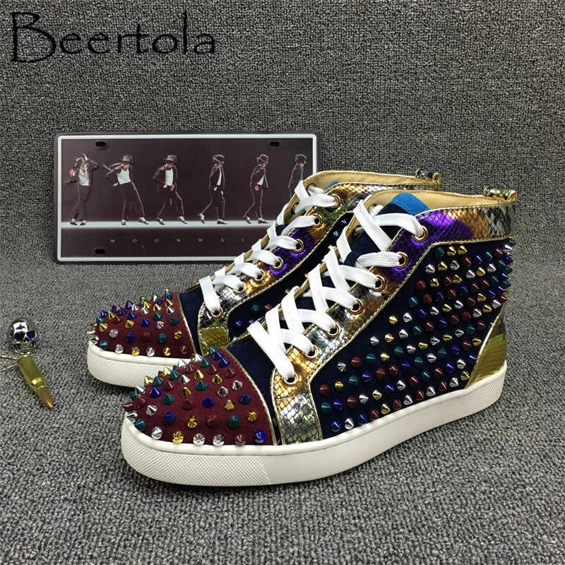 Beertola New Men Casual Shoes Mixed Color Suede Snakeskin Pattern Colorful  Spikes High Top Chic Street 5ffd2aa6f67e