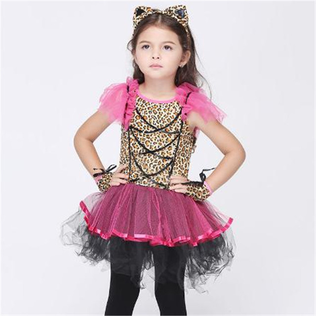 Christmas Carnival Theme Outfit.Us 19 99 Girls Purple Leopard Design Cosplay Costume Animal Foot Print Dress Kids Halloween Christmas Carnival Party Cosplay Outfit In Girls