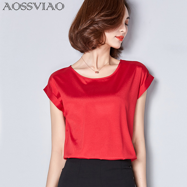 3cabdef693 Chiffon Blouses 2018 Women Short Sleeves Tops Vintage Plus Size Ladies  Clothing O Neck Gray Red Pink White Woman Shirts Blusa-in Blouses & Shirts  from ...