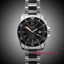 43mm parnis black dial ceramic bezel date Sapphire glass 21 jewels miyota waterproof 200m automatic mechanical mens dive watch
