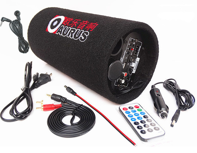 Mini Car Powered Audio System Subwoofer Speaker Auto For Car