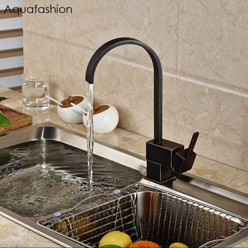 Vintage Black Kitchen Faucet Oil Rubbed Bronze Kitchen Mixer Single Handle Black Faucet For Kitchen Sink
