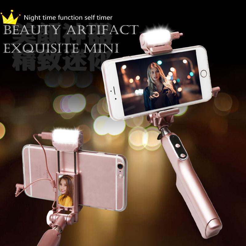 Bluetooth Stick Selfie cu inel de autoe de 360 de grade Iluminați luminile cu LED-uri și lumină spate pentru telefoanele Samsung