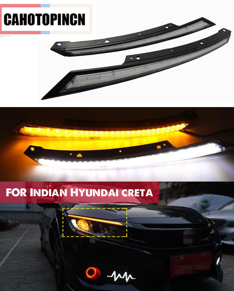 For Honda Civic 2016 2017 2018 LED DRL Headlight Eyebrow Daytime Running Light fog lamp With