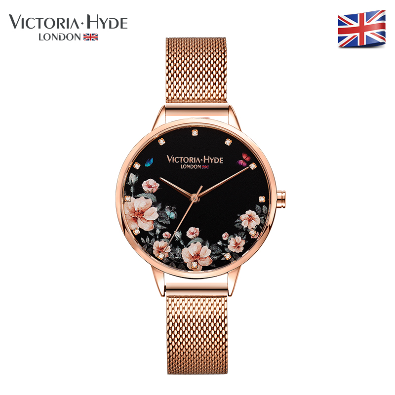 Victoria Hyde Women Watches Flower Quartz Watch Relogio Feminino Rose Gold Floral Ladies Clock Montre Femme Waterproof