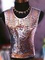 Новый стиль мода серебряный красный зеленый певец танцор блестками цепи жилет костюм дворец панк стиль джаз жилет ds dj верхняя одежда
