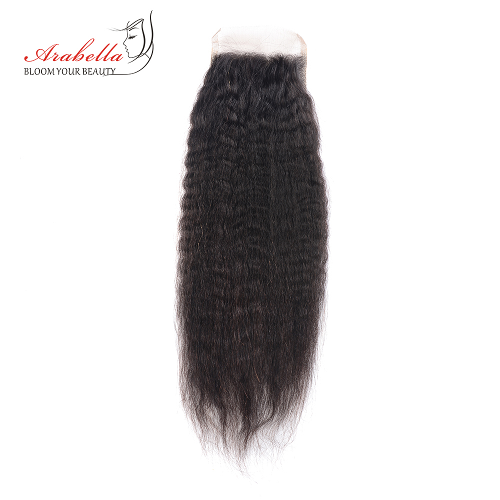 Arabella Brazilian Yaki Straight 4*4 Closure 100% Human Hair Swiss Lace Closure with Baby Hair 10-22 Inches remy Hair