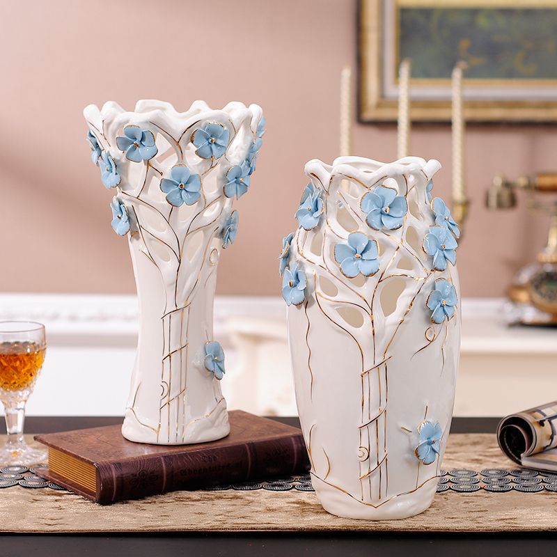 White Ceramic Concise Modern Creative Dried Flowers Vase