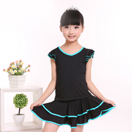 Hot Sale Discount Basic Child Kid Double V-Neck Performance Dress Latin Skirt Suit Dance Dress For Girls