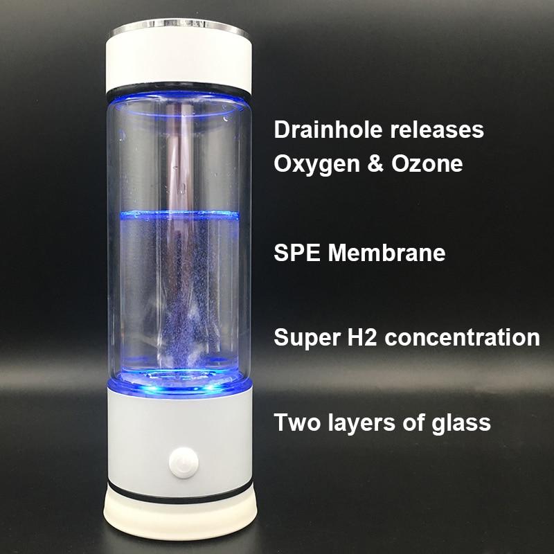 Le 5th génération SPE PEM Membrane hydrogène générateur d'eau ioniseur verre bouteille trou de vidange libérer l'ozone chlore