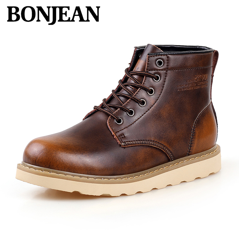 Leather Men Bootsbritish Style Men Casual Shoes Increase Soft Spring Autumn And Winter Man Shoes Ankle Boot Men Snow Shoe Work