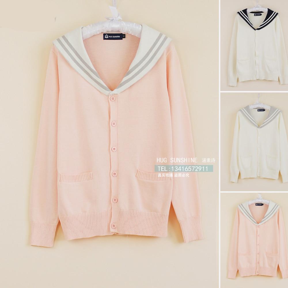 Preppy Style Cosplay Cardigan Sweater Women School Uniform Sailor Collar Cardigan JK Japanese School Uniforms Knitted Sweater