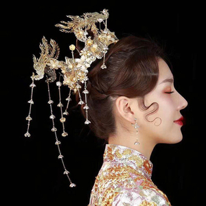 Image 4 - HIMSTORY Luxus Hochzeit Braut Vintage Chinesischen Pfau Haar Zubehör Braut Kopfschmuck Gold Phoenix Tiara Krone Haar Schmuck
